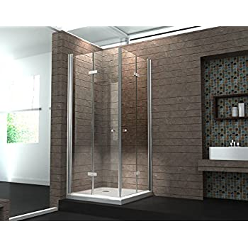 falttür duschkabine 8 mm duschabtrennung eckeinstieg dusche echt ... - Dusche Ohne Duschwanne Bauen