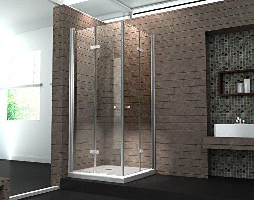 Falttür Duschkabine 8 mm Duschabtrennung Eckeinstieg Dusche Echt Glas 80 x 80 x 195 cm CLAP