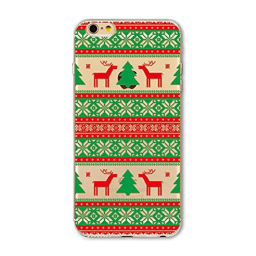 Noël Coque iPhone 7 Plus / iPhone 8 Plus LifeePro Ultra Mince Transparent Doux TPU Gel Silicone Antichoc Anti-rayures Full Body Étui Housse de Protection Christmas Cover pour iPhone 7 Plus / iPhone 8  Christmas Tree and Deer