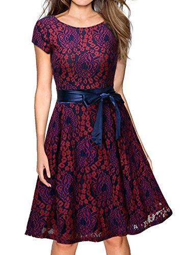 Miusol Kleid Elegant Hochzeit Brautjungfer Mini Spitzenkleider Abendkleider Rot