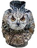 RAISEVERN Männer Frauen 3D-Druck Plus samt Kapuzen-Sweatshirt lässige Pullover Hoodie große Taschen Eulen