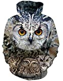 RAISEVERN 3D Halloween Hoodie Unisex realistische 3D Digital Print Pullover-Sweatshirt Hoodies mit großen Kapuzen Taschen Vogel Muster Eulen