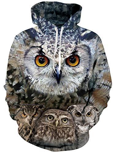 RAISEVERN 3D Halloween Hoodie Unisex realistische 3D Digital Print Pullover-Sweatshirt Hoodies mit großen Kapuzen Taschen Vogel Muster Eulen (Halloween Taschen Muster)