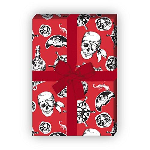 Cooles Piraten Geschenkpapier Set, Dekorpapier, Papier zum Einpacken mit Totenkopf und Co, rot, für tolle Geschenk Verpackung und Überraschungen (4 Bogen, 32 x ()