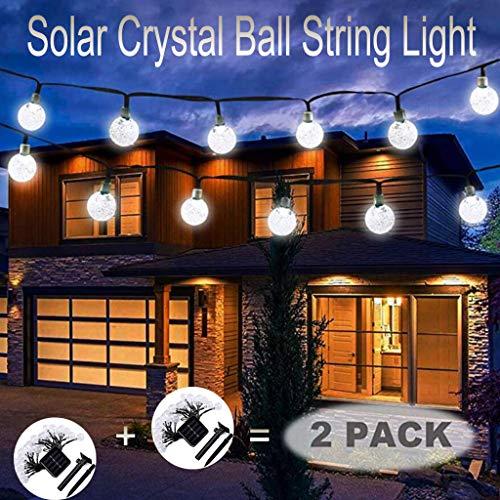 Solar Kristallkugel Solarlichterkette Outdoor Lichter Wasserfest Gartenlicht 6.5 Meter 30 Lichter Kristallbälle Weihnachtsdeko für Außen Garten, Terrasse,Partys Warmes, 2 Stück