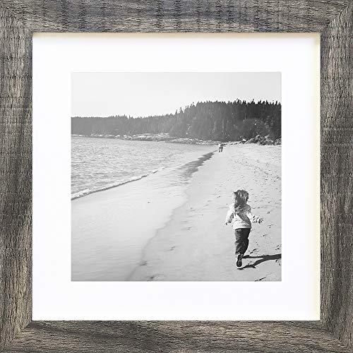 PF&A Quadratischer Grau Rustikal Holz Effekt Bilderrahmen - 25x25 cm mit Passepartout 20x20 cm - Glas Scheibe