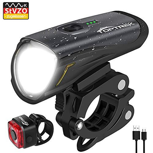 Toptrek Fahrradlicht StVZO Zugelassen, LED Fahrradbeleuchtung Set akku USB Wiederaufladbare OSRAM LED-Licht, umschaltbar zwischen 50/30 Lux, Frontlicht & Rücklicht IPX4 Wasserdicht Fahrradlampe (LF12)