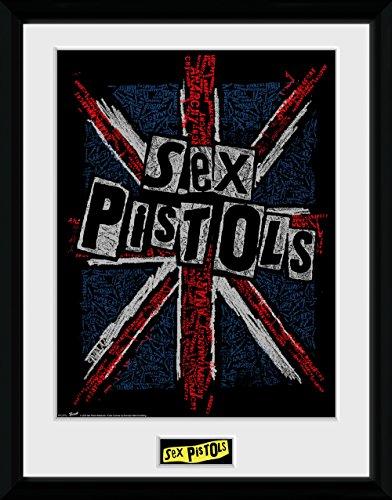 GB Eye Ltd Sex Pistols, Drapeau, encadrée, 30 x 40 cm, Bois, différents, 52 x 44 x 3 cm