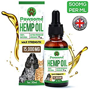 Pawsome Products® Hemp Oil for Dogs, Cats & Pets   High Strength 15,000mg / 30ml   Rich in Omega 3 & 6   Organic   Made & Certified in UK