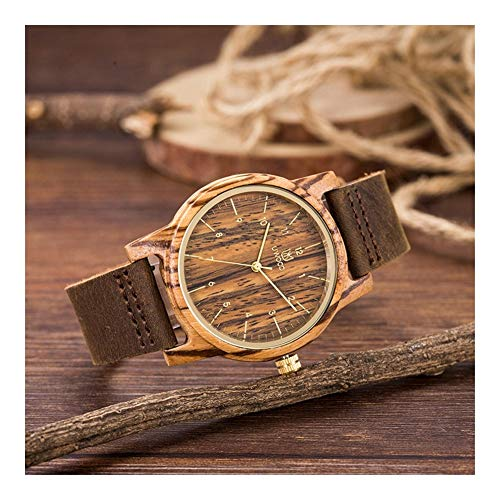 Qqzmd Wooden Watches Mesa Madera Cebra for Hombres: