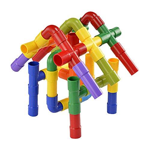 Bausteine Zusammenbauen Bauklötze Wasserrohr Puzzle Rollen Pipeworks Bau Pipeline Gebäude Interlocking-Set Montage Intelligenz Ausbildung Spielzeug für Kinder ()