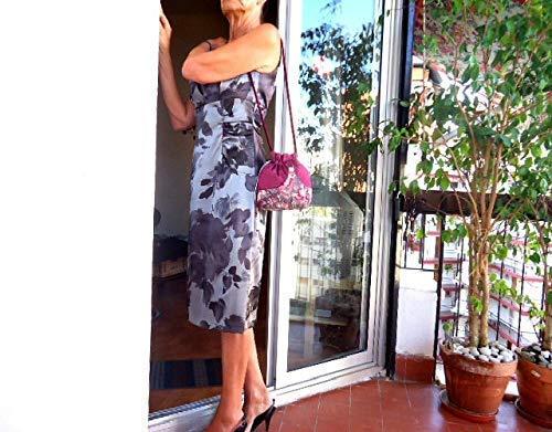 Handmade pink drawstring evening purse, Romantic boho pouch, Fabric purse, Evening bags, Shoulder bag - handmade-bags