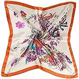 Datework Women Floral Printed Square Scarf Head Wrap (Orange)
