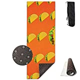 Roue Yoga Mat Non Slip Taco Pattern Printed 24 X 71 Inches Premium for Fitness Exercise Pilates with Carrying Strap