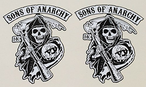 Hot-choppers (MG307 / 2x Aufkleber Sons of Anarchy je 7x6cm Biker Skull Rocker MC Death Man Chopper Hot Rod Old School Vintage)