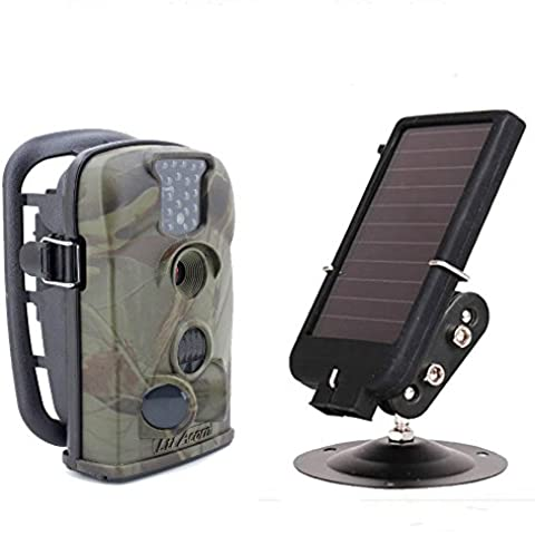 Boblov 8GB+6V Solar Battery Panel+100% Original LTL Aron 2016 Updated 5210A 1080P Video Recording with Audio 12MP Digital Infrared Night Vision Outdoor IP54 Waterproof Wildlife Scouting Stealth Hunting Surveillance Security Trail Game Cam Camera 940nm Camo
