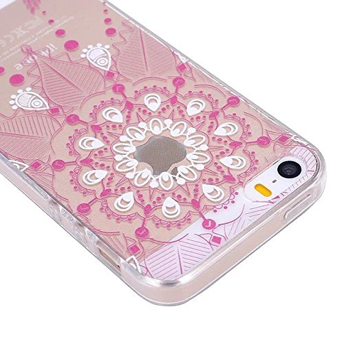 Etsue TPU Schutzhülle für iPhone SE/iPhone 5S Silikon Handyhülle, Wunderschön Besondere Entwurf Muster TPU Silikon Handytasche Weiche Kristall Klar Rahmen Ultradünnen Rückseite Tasche Etui Schale Bump Mandala Floral,Pink