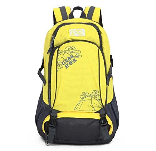 LQABW Bergsteigen Im Freien Reit Schulter-Spielraum Männer Und Frauen 50L Oxford Tuch Atmungsaktive Wasserdichte Wanderrucksack Tasche Yellow