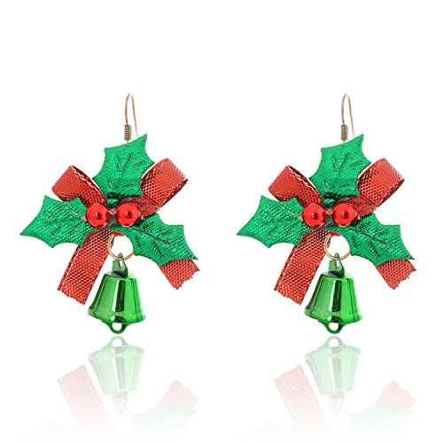Lureme® Natale Vacanza Retro Carina Arco with Leaves and verde Jingle Bells Hook Far cadere Earring (02004734)