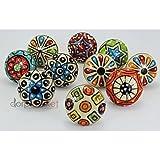 Dorpmarket 10pièces Ensemble de boutons de cabinet coloré en céramique à pois...
