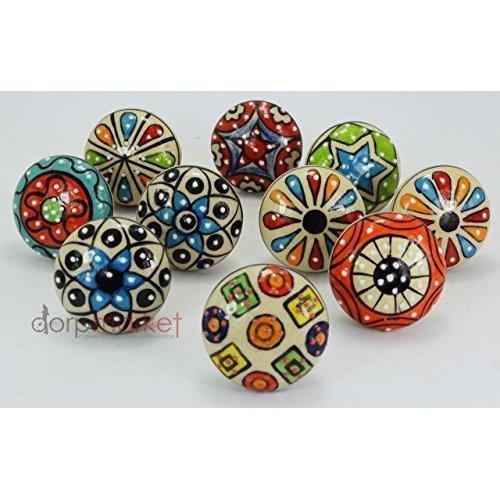 10 pomos Dorpmarket de cerámica, con diseño de puntos, coloridos y para cajones, armarios y muebles