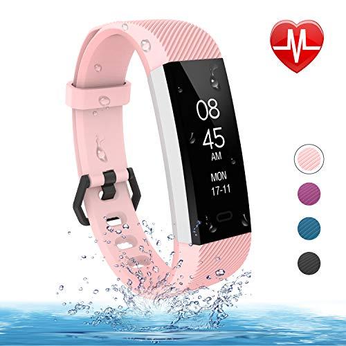 fitpolo Fitness Tracker, Tracker attività Impermeabile Sottile con Cardiofrequenzimetro, Contapassi, Monitor Sonno, Contapassi, Chiamate/SnS Promemoria (Rosa)