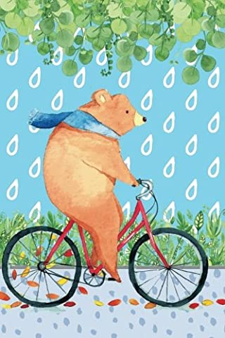 Journal Notebook Bear Riding Bicycle: 110 Page Plain Blank Journal For Drawing, Writing, Doodling In Portable 6 x 9 Size