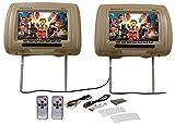 Pair Rockville RHP91-BG 9 Digital Panel Biege Car Headrest Monitors w/Speakers