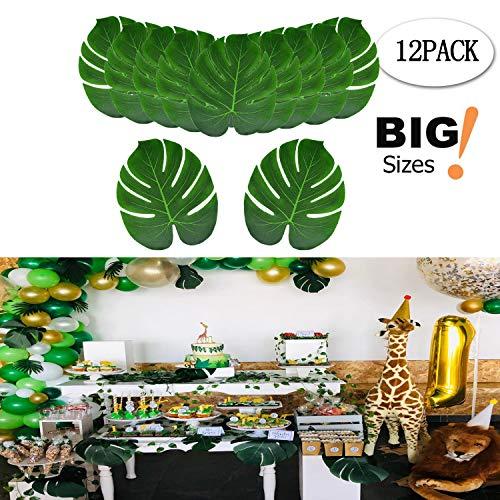 SUPPROMO Tropical künstlichen Blättern und Hibiskus Blumen für Hawaiian Luau Party Favor Tischdekorationen Home Dekorationen und Geburtstag Party Dekorationen 12pcs Green Leaves