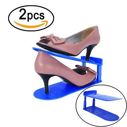 Shoes Rack Shoes Organizer HKFV 2 STÜCKE doppelte speicher schuh rahmen einfache schuh rahmen schuhe box lagerung finishing rack (Schuh-speicher-box)
