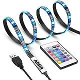 AMIR LED Streifen, 1m 30 LED LED Strip mit 24 Tasten Fernbedienung, IP65 Wasserfest LED TV Hintergrundbeleuchtung, 16 Farben, 4 Modi, TV Beleuchtung LED für TV Bildschirm, Desktop, PC, Party usw