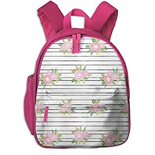 Childrens Backpack for Girls,Stripes Floral Unicorn Quilt Nursery Fabric White_2857-charlottewinter,for Children's Schools Oxford Cloth (Pink)