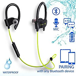 Wireless Headphones Sports bluetooth Headphones with Microphone. In Ear Earbuds Ergonomic Ear Hook Headset Noise Isolation Stereo Earphones with Mic