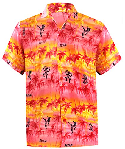 LA LEELA Men Hawaiian Shirt Button Down Spread Collar Short Sleeves Front Pocket Aloha Likre S|Chest 38