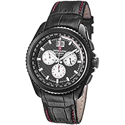 Swiss Alpine Military Thunder 1621.9577 SAM 43mm Stainless Steel Case Black Calfskin Anti-Reflective Sapphire Men's Watch