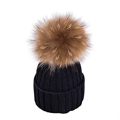 Yidarton Frauen Mädchen Strickmütze Pelzmütze Echt Große Waschbär Pelz Pom Pom Beanie Hüte Winter (Schwarz) (Pelz-pom-pom Echte)