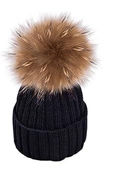 Yidarton Frauen Mädchen Strickmütze Pelzmütze Echt Große Waschbär Pelz Pom Pom Beanie Hüte Winter