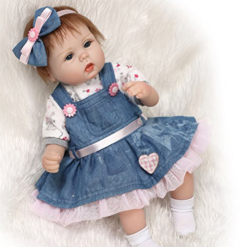 Tragen Jean-rock (ZIYIUI 18inch 45cm Reborn Babypuppe Neugeborenes Babypuppe Lebensechte Soft Silikon Vinyl Tragen eine Jeans Rock Puppe)