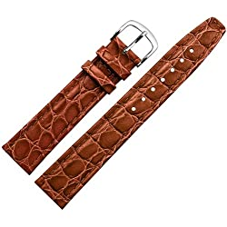 Replacement Watch Strap/Watch Strap-18mm Bracelet made of cowhide embossed croc Holdal MARBURGER Bracelets Since 1945-Brown/Gold