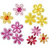 Mono-Quick 315 Aufbügelbilder Blumen Set, 5 teilig, Blumenmotive, 3,5 x 3,5 cm, bis 4,5 x 4,5 cm, Satinstoff, Organza, Stickerei aus Viskosegarn