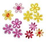 Mono-Quick 315 - Set di toppe termoadesive, 11 pezzi, motivo a fiori, da 3,5 x 3,5 cm a 4,5 x 4,5 cm, in raso, organza, ricamo in filo di viscosa