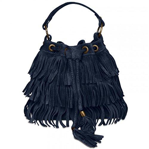 CASPAR TL677 Damen Wildleder Fransen Tasche/Beutel, Farbe:blau - Wildleder Fransen Tasche
