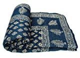 Shop Rajasthan Dark Blue Hand Block Gold...