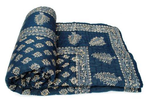 Shop Rajasthan Dark Blue Hand Block Gold Print Cotton Double Bed Quilt