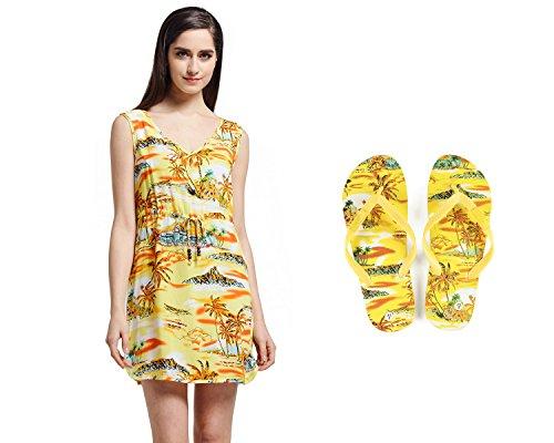 Dame passt Hawaiian Luau Outfit Aloha Tunikakleid und Flip Flops im Sonnenuntergang-Gelb Tunika-Kleid M Sandalen 7 (Hawaiian Shirt Baumwolle)