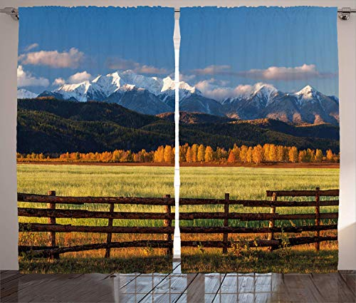 Hmihilu Nature Curtains, Farm Field with Snow Covered Mountain Nature Valley Forest Panoramic Work of Art, Living Room Bedroom Window Drapes 2 Panel Set,Violet Green 110x63 in