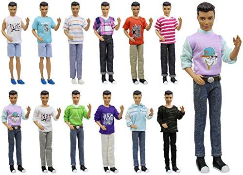 ZITA ELEMENT 5 Set Mode Uniform Puppen Kleidung Outfit für Männer Junge 11,5 inch Girl Doll Boy Friend Freizeitkleidung Oberteil Jacke Hosen Zubehör