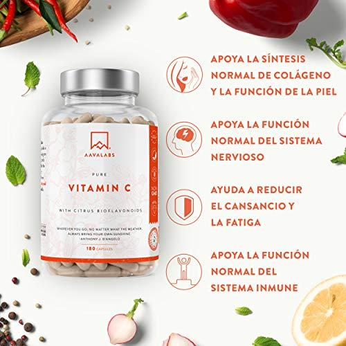 51HTUoMXsPL - Vitamina C Pura Altamente Concentrada - Más de 1000 mg por Dosis Diaria [1027 mg] - 180 Cápsulas - Con Flavonoides de Fruta Cítrica, Camu Camu y Acerola - Complemento Alimenticio 100% Vegano