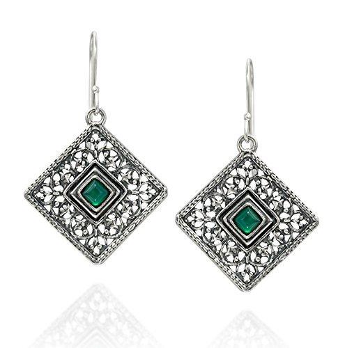 In argento sterling 925e agata verde pietra preziosa filigrana orecchini pendenti quadrati unico gioielli da donna