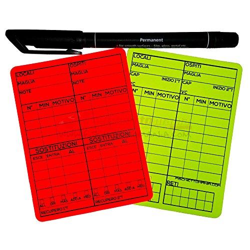 Cartellini Arbitro riscrivibili 10x7.5 cm per Calcio a 11 + Pennarello
